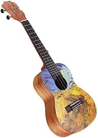 クラシックギター 23インチアカシアウクレレでバッグ初心者ギターバッグ付きチューナーと通常の文字列の伝統的な西洋ボディ 簡単に学べてプレイ可能 (色 : As shown, Size : 23 Inch)