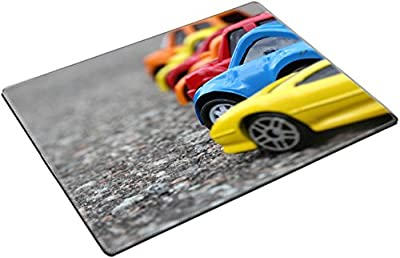MSD Place Mat Non-Slip Natural Rubber Desk Pads design: 31198959 miniature colorful cars standing in line on road sale concept Different colored cars blue yellow orange w