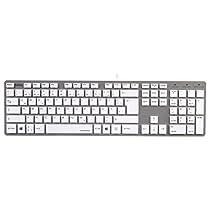Hama PC Tastatur Rossano im Slim-Design, USB, QWERTZ-Layout, kabelgebunden, weiß/silber
