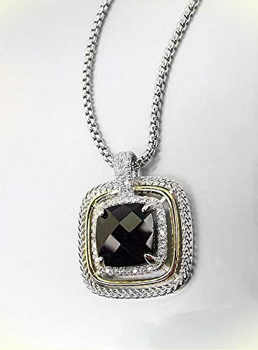 Exquisite Silver Wheat Cable Black Onyx 12.66ct Cz Crystal Pendant Necklace For -