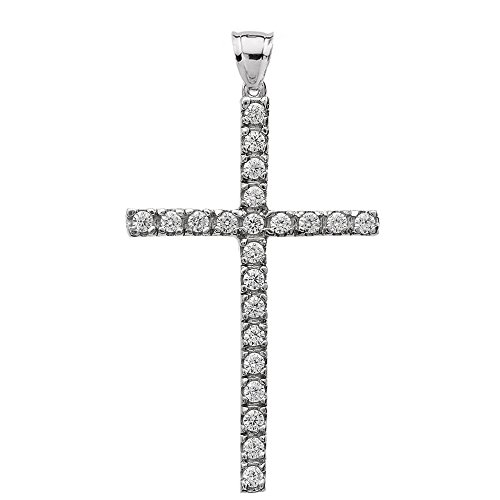 10k White Gold and 0.4 Carat Total Diamond Weight, fine Cross Pendant