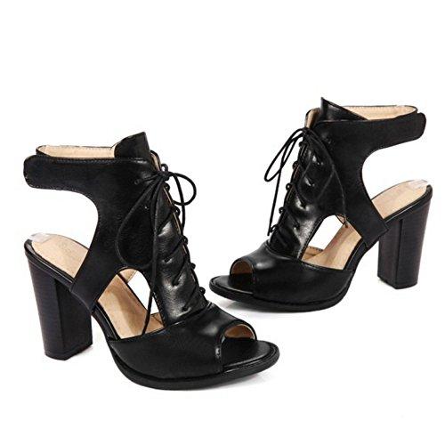SJJH High Heel Gladiator Sandals with Peep Toe and Large Size 11 UK Cool Women Summer Boots Black BuahkKSHr