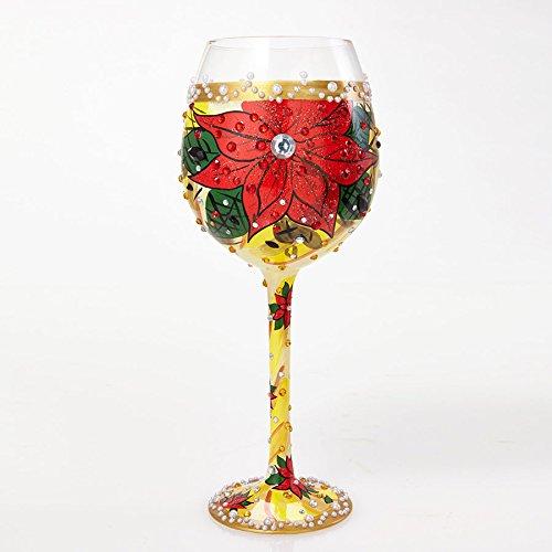 Enesco Lolita Glass Poinsettia Wine_Glass