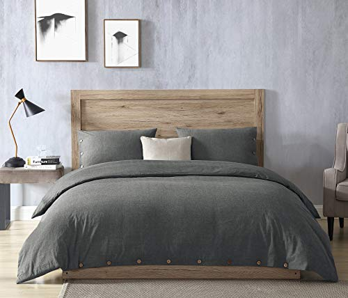 EXQ Home 100% Washed Cotton Grey Duvet Cover Set King Size 3 Pcs, Super Soft Bedding Vintage Comforter Cover with Button…
