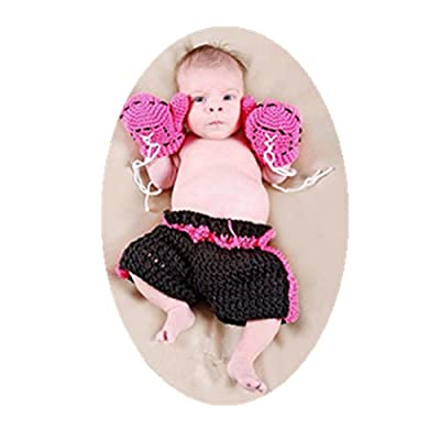 Newborn Baby Photography Props Boy Girl Photo Shoot Outfits Cute Boxing Style Crochet Knitted Costume Glove Pants: Clothing
