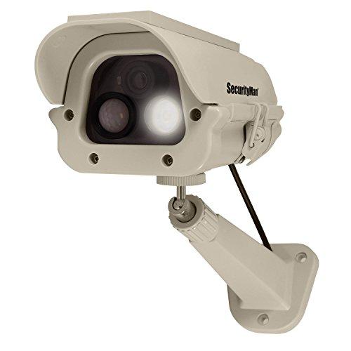Securityman Solar Powered 100 Lumens LED Spotlight Dummy Fake Surveillance Security Camera (DUMCAM-SLM)