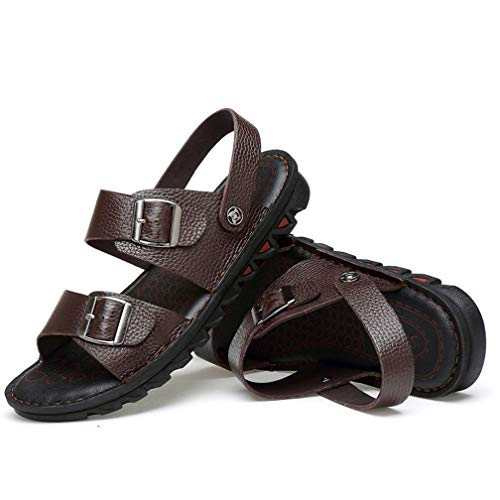 De Zapatos Sandalias Verano Libre Y Brown Al Sandalias Para En Zapatillas Deportes 42 Hombres Espiga Chanclas Casuales Cuero brown Playa Aire EZgqC