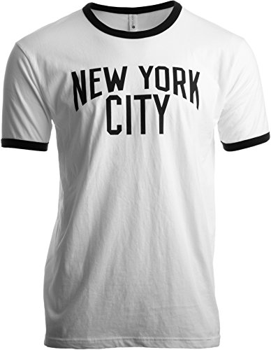 York City | Iconic NYC Lennon Ringer Vintage Retro Style Men Women T-Shirt-(Adult,L) -