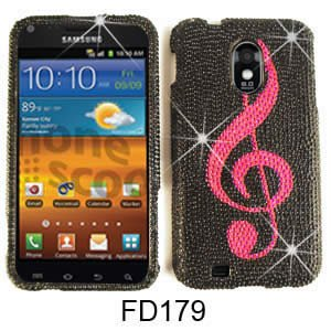 CELL PHONE CASE COVER FOR SAMSUNG EPIC 4G TOUCH GALAXY S II D710 RHINESTONES PINK MUSIC NOTE ON ()