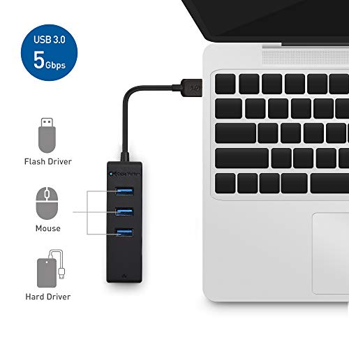 Cable Matters 3 Port USB 3.0 Hub with Ethernet (USB Hub with Ethernet / Gigabit Ethernet USB Hub ) Supporting 10 / 100 / 1000 Mbps Ethernet Network in Black by Cable Matters (Image #3)