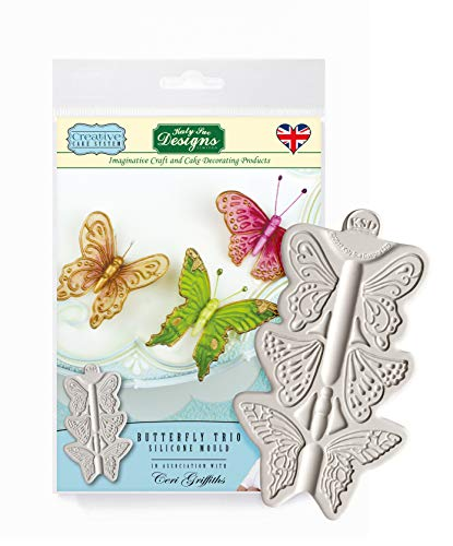 Butterfly Trio Silicone Royal Icing Mold, Ceri Griffiths Creative Cake System for Decorating, Sugarpaste, Fondants, Candies and Crafts, Food Safe