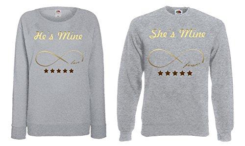 "TRVPPY Partner Herren + Damen Pullover Sweater / Modell ""HE IS MINE + SHE IS MINE"" / in vielen versch. Farben Gold-Grau"