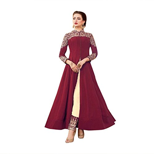 Maroon Color Stylish Anarkali Salwar Kameez Bollywood Diwali Festive Kaftan Gown Long Wedding Formal Party Wear Muslim Women Ceremony By Ethnic Emporium 525 by ETHNIC EMPORIUM