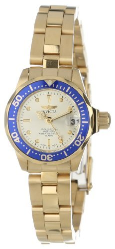 Invicta Women's 14126 Pro Diver Gold Dial 18k Gold Ion-Plated Stainless Steel Watch