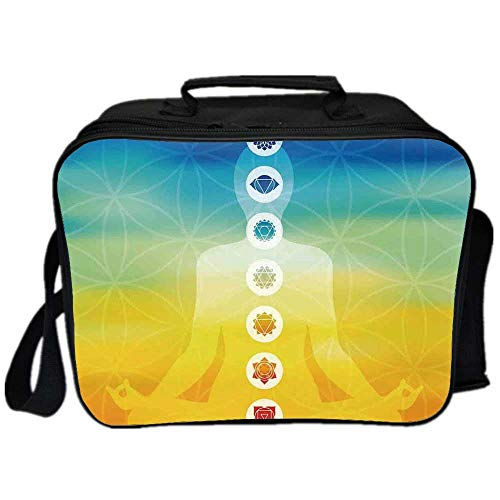 Chakra Decor Environmental Lunch Ice Bag,Gradient Colored Digital Female Human Body with Central Sacred Chakra Points Design for Travel Picnic,One size (Chakras In Human Body And Their Functions)