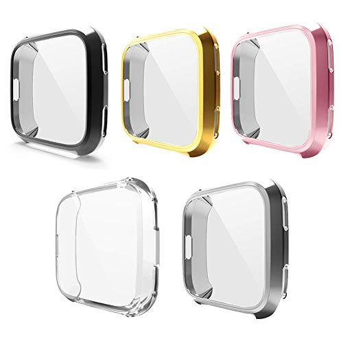 Case for Fitbit Versa, iHYQ Soft TPU Slim Fit Full Cover Screen Protector for Fitbit Versa Smart Watch (5 PACK)