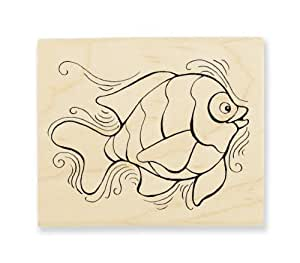 "Stampendous Wooden Handle Rubber Stamp, ""Pen Pattern Fish"""