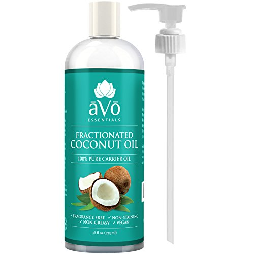 (āVō Fractionated Coconut Oil 16 Oz - 100% Pure Carrier and Base Oil for Aromatherapy, Massage, and Natural Moisturizer of Hair, Nails and Skin - Free Pump Included )