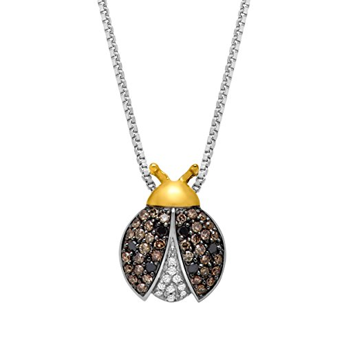 Sterling Silver Ladybug (1/4 ct Diamond White, Champagne & Brown Ladybug Pendant in Sterling Silver & 14K Gold,)