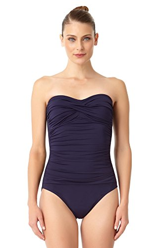 Anne Cole Women's Live in Color Twist Front Shirred Bandeau One Piece Swimsuit-12-Navy Front Bandeau