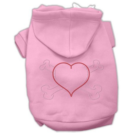 Mirage Pet Products 54-37 XXXLPK Heart and Crossbones Hoodies Pink XXXL- 20 - Crossbones Hoodie