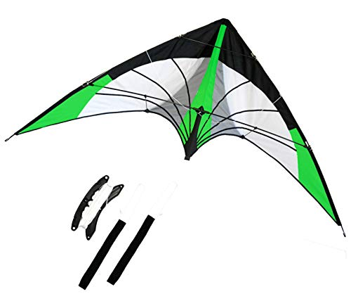 Stunt Kite, Dual Line, 68-inch Wingspan. Great Outdoor Sport. Professional Wrist Starps. Three Colors Available (Green)