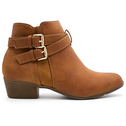 Stacked Cl Booties Buckle 14 Top Straps Pu Low Moda Tan1 Ankle Women's Heel 4qqw5vY