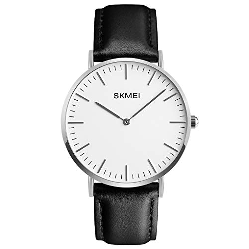 Skmei Thin Dial Wrist Watch Casual Classic Quartz Wrist Business Analog Watch with 1.57 Inches,Silver Case Black Leather Band (1.57 Inches)