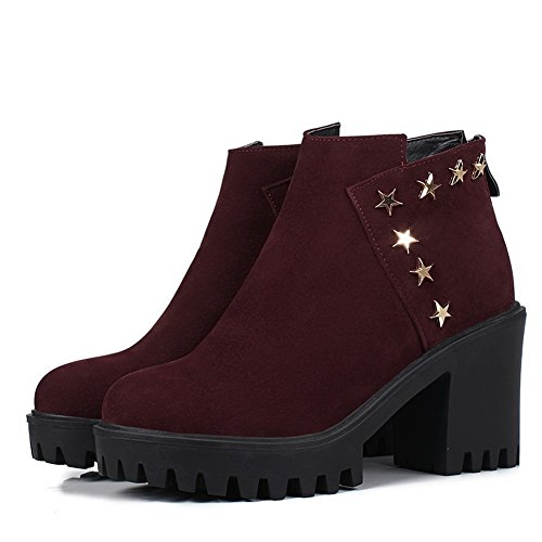 High Studded BalaMasa Ankle Boots ABL10479 Zipper Red Urethane Womens vSFqpn