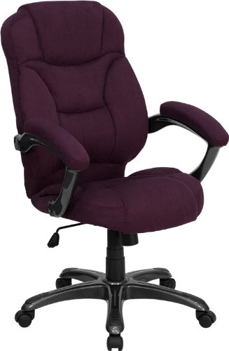 Super Soft Grape Purple Microfiber Fabric Executive High Back Office Desk Chairs
