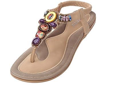 Vogstyle Damen Sommer Bohemia Sandalen Zehentrenner Clip Toe Flip Flops Strand Schuhe Art 2 Apricot CH36 nUg9WRq