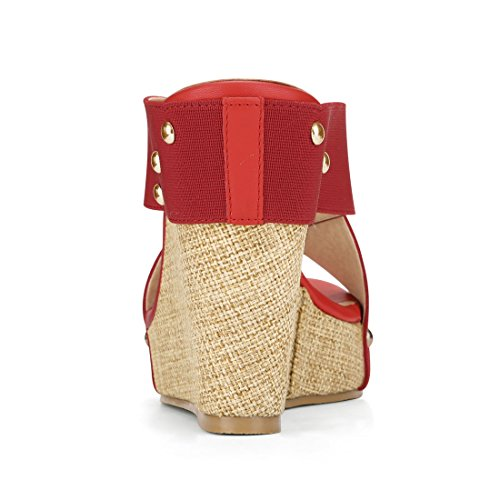 Allegra K Womens Platform Slide Wedge Sandals Red ppBMw25L