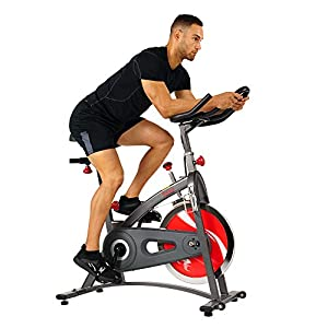 Sunny Health & Fitness Indoor Cycling Bike with LCD Monitor, 40 lb Chrome Flywheel and 265 lb Max Weight – SF-B1423/C