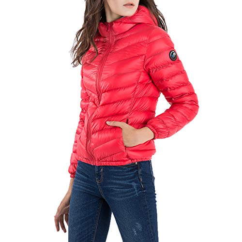 Mden Women's Hooded Packable Down Jacket Ultra Lightweight Waterproof Duck Winter Puffer Coat(US XS, Red)