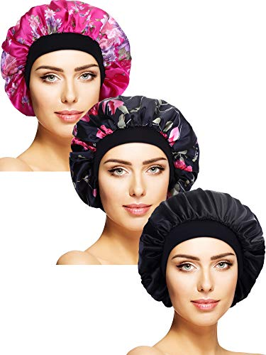 Tatuo 3 Pieces Satin Sleeping Cap Wide Band Caps Salon Bonnet Night Sleep Hat for Women, 3 Styles (Color Set 4)