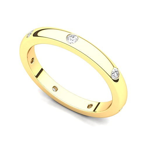 14k Yellow Gold Bezel set Diamond Semi Eternity Wedding Band Ring (G-H/SI, 0.21 ct.), 5 ()