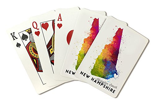 Hampton Beach, New Hampshire - State Abstract Watercolor (Playing Card Deck - 52 Card Poker Size with ()