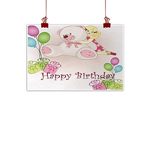 duommhome Kids Birthday Living Room Decorative Painting Baby Girl Birthday with Teddy Bears Toys Balloons Surprise Boxes Dolls Image Modern Minimalist Atmosphere W35 xL31 Light Pink from duommhome