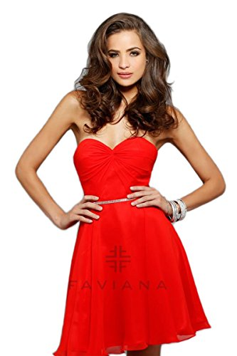 faviana red prom dress - 4