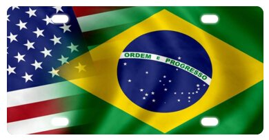 (Flag of Brazil and USA (Brazilian) Novelty License Plate Decorative Front Plate 6