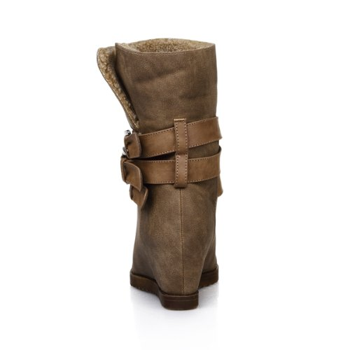 Alexis Leroy Women and Girls Inside Wedges Triple Buckles Ankle Winter Boots Khaki m32l37PHgG