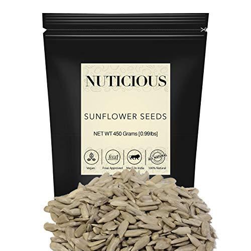 NUTICIOUS Natural Premium Sunflower Seeds-450 gm (Gourmet Vegan Food Premium Quality)