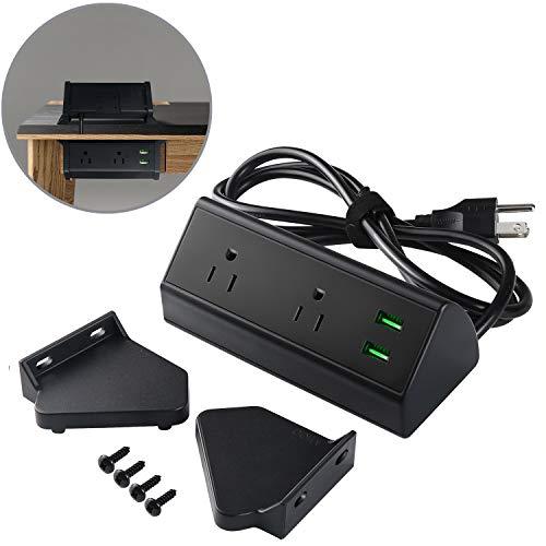 (2 Outlet Clamp Mount Power Strip with USB Charging, Under Desk Removable Desktop Power Center Station, Outlet 110-220V/50HZ/10A, USB 5V/2.1A 5.9 ft Power Cord (Black))