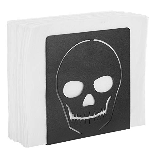 MyGift Black Metal Cutout Skull Napkin Holder -