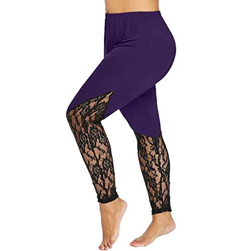 (ZEFOTIM Fashion Women Lace Plus Size Skinny Pants Yoga Sport Pants Leggings Trousers (Purple,XXXXX-Large))