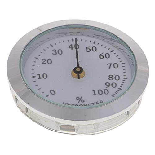 Prettyia Round 36mm Cigar Hygrometer for Cigar Humidor Cabinets Cigar Tube Case Accssories, Silver and Golden - Silver