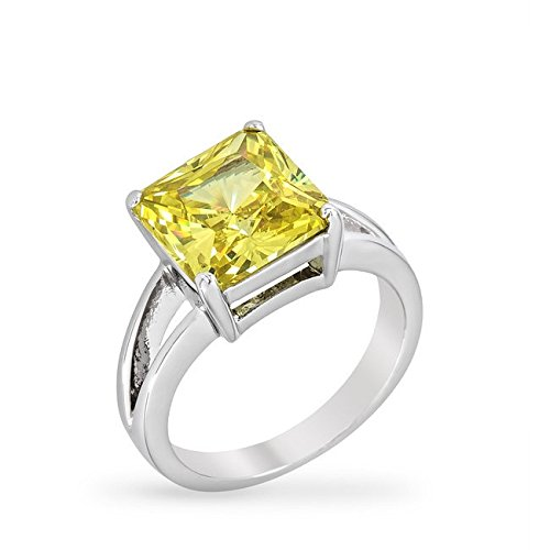[Yellow Cubic Zirconia Gypsy Silver Colored Engagement Ring, Size 5] (Gypsy Costume Couple)