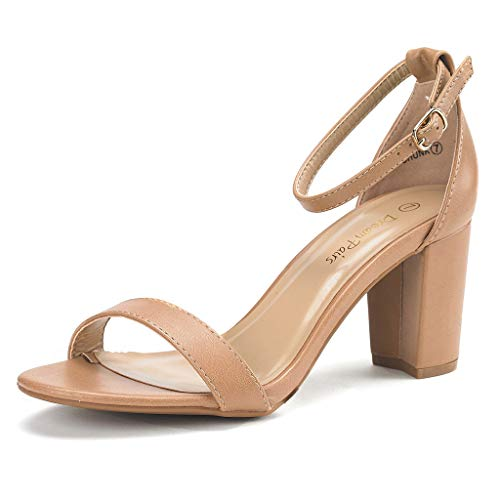 DREAM PAIRS Women's Chunk Nude Pu Low Heel Pump Sandals - 9.5 M US