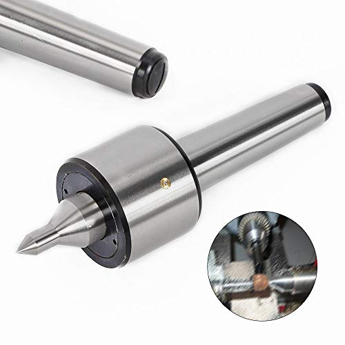 "MT4 Lathe Live Center, High Precision 0.000197"" Morse Taper Bearing Lathe Turning Long Nose Spindle Lathe Tool 2500RPM Silver"