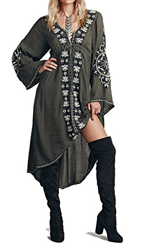 R.Vivimos Womens Cotton Embroidered High Low Long Dresses Small Army Green -